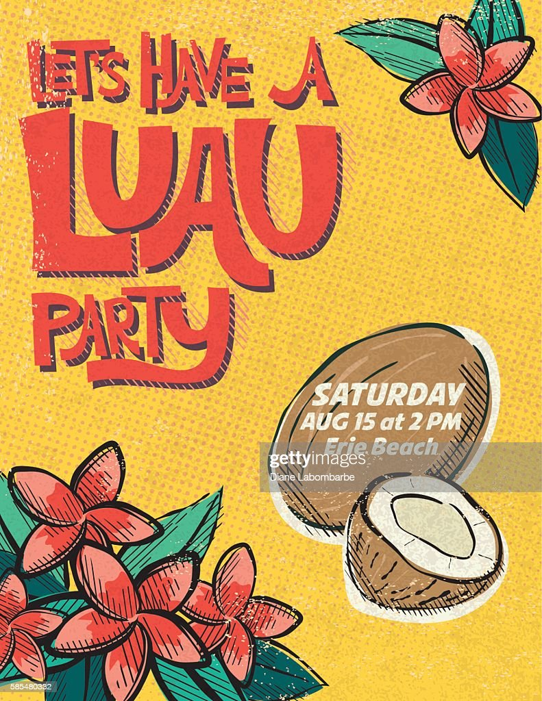 Vintage Style Luau Party Invitation Template Vector Art – Hawaiian Party Invitations Templates