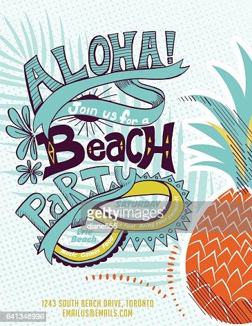 vintage style luau party invitation template vector art | getty images, Invitation templates