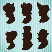 Vintage people silhouettes against striped background