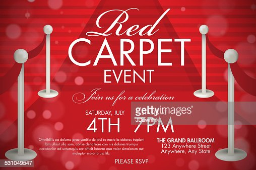 Vintage Style Red Carpet Event Invitation Template Red