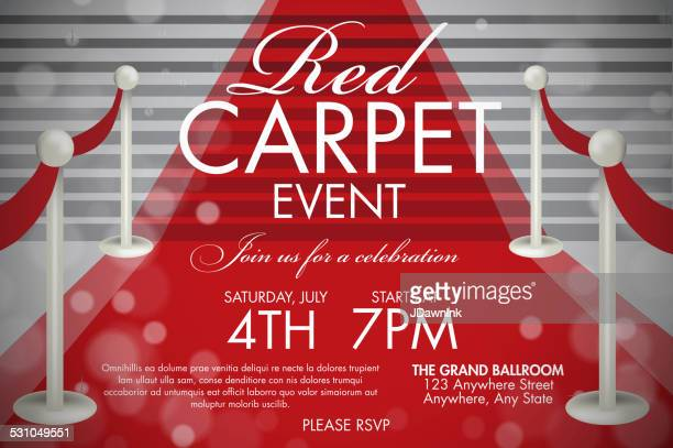 Vintage style Red Carpet  Event invitation template white stairs
