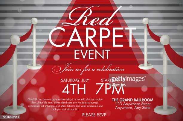 Retro-style Red Carpet Event Einladung Vorlage weiß Treppe