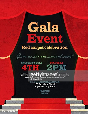 Vintage Style Red Curtian Gala Event Invitation Template Vector