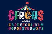 Vintage style roughen circus font, vector illustration