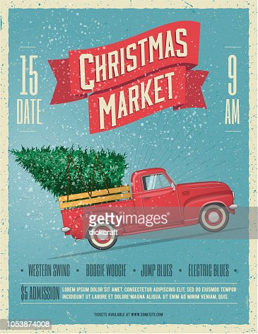 Vintage Styled Christmas Market Poster or Flyer Template with retro red pickup truck with christmas tree on board. Vector illustration. : Vector Art