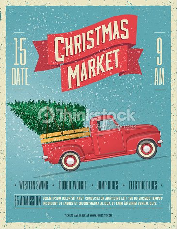 Vintage Styled Christmas Market Poster or Flyer Template with retro red pickup truck with christmas tree on board. Vector illustration. : stock vector
