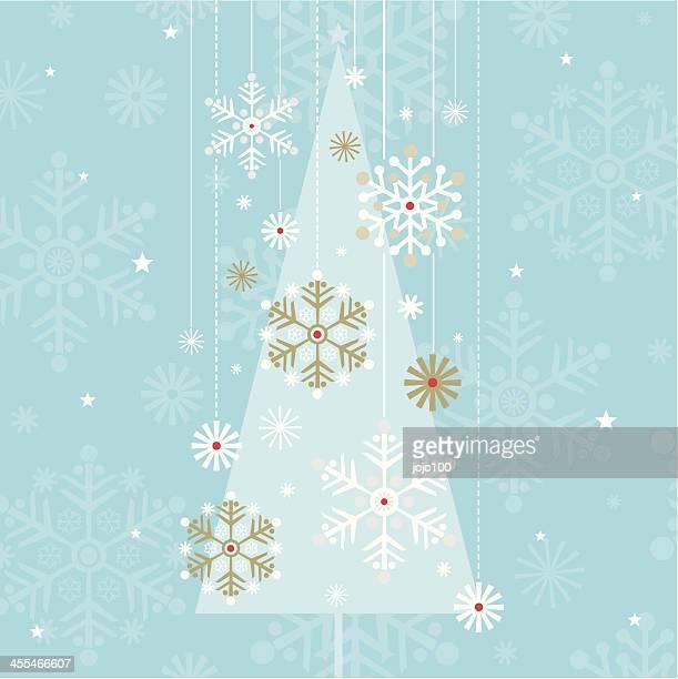 Vintage-Stil Weihnachten Baum Silhouette & Schneeflockenmuster