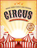 Illustration of a retro vintage circus background, with summer yellow sky, marquee, big top, titles and grunge texture