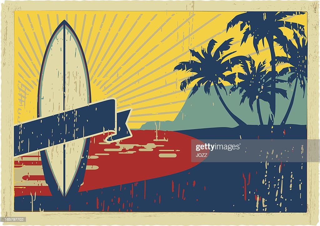 vintage surfboard postcard : Vector Art