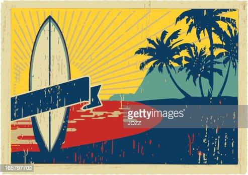 vintage surfboard postcard : Vector Art