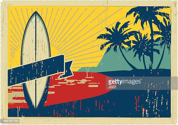 vintage Surfbrett Postkarte