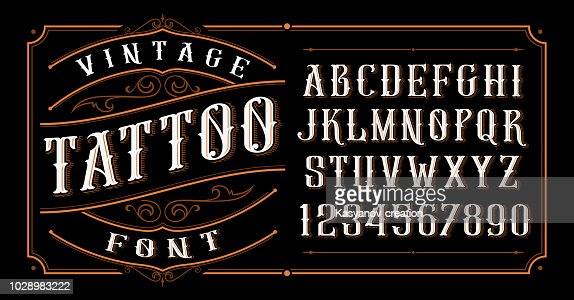 Vintage Tattoo Font. : Vector Art