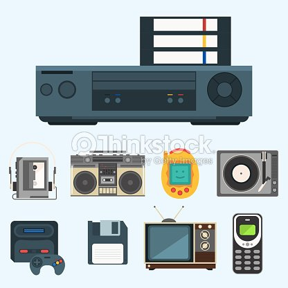 Vintage technologies vector retro audio multimedia entertainment old electronic gadget communication illustration