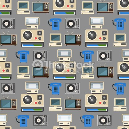 Vintage technologies vector retro audio multimedia entertainment old electronic gadget communication seamless pattern background illustration