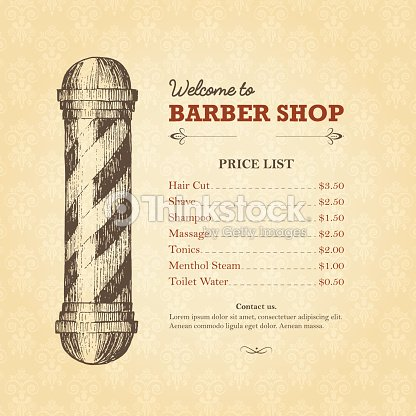 Vintage Template Of Barber Shop Price List With Pole Vector Art ...