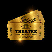 Vintage theatre tickets vector template. Vector golden tickets isolated on black backgound. Illustration of ticket paper entrance to cinema
