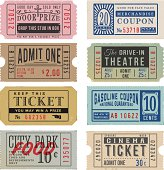 Vintage Tickets and Coupons. EPS 10