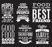 set of vintage typographic food quotes for the menu or t-shift
