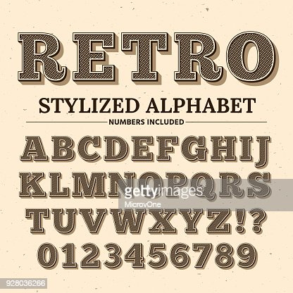 Vintage typography vector font. Decorative retro alphabet. Old western style letters and numbers : arte vettoriale