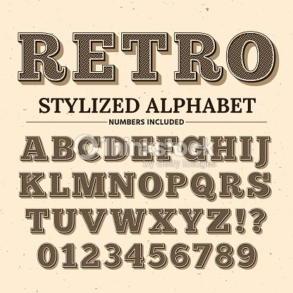 Vintage typography vector font. Decorative retro alphabet. Old western style letters and numbers : stock vector