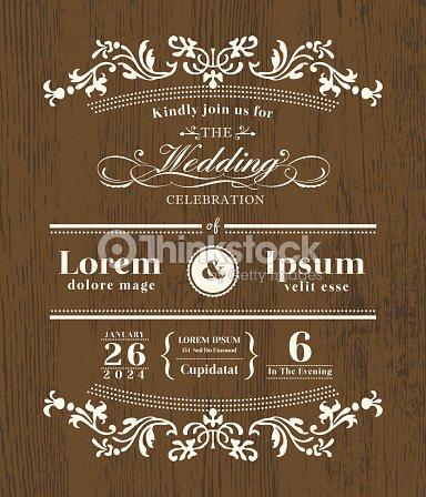 Design De Tipografia Vintage De Casamento Convite Modelo Em Fundo De
