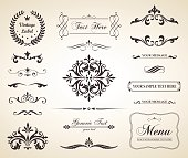 This image is a vector file representing a set of  Vintage Decorative Ornament Borders and Page Dividers. No mesh or transparencies. EPS 10 vector file.