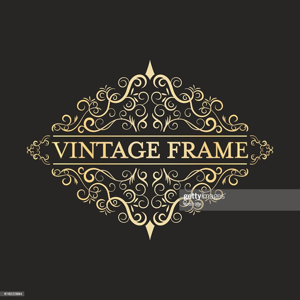 Vintage vector golden frame in vintage style. Calligraphic design. : Vector Art
