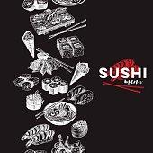 Vintage vector hand drawn Japanese food sketch Illustration.. Retro style Seamless border. repeating background. Sushi bar menu. Chalkboard design.