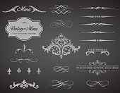 This image is a vector set that contains calligraphic elements, borders, page dividers, page decoration and ornaments. No mesh or transparencies. EPS 10 vector file.