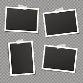 Set of vintage photo frame with white adhesive tape. Vintage style.  Vector illustration with adhesive tapes. Photorealistic Vector EPS10 Mockups. Retro Photo Frame Template for your photos.