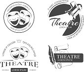 Vintage vector theatre labels, emblems, badges. Classical theatrical mask, spotlight theatre, performance theatre  sign, emblem theatre illustration