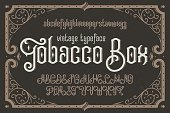 Vintage vector typeface named 'Tobacco Box' with a beautiful decorative frame