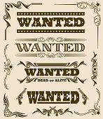Vintage wanted dead or alive western poster vector frame ornament elements. Set of wanted text, illustration of wanted dead or alive poster