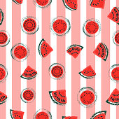 Vintage red watermelon slices on pink and white stripes seamless pattern vector background. Great for textile, paper, wallpaper and more.