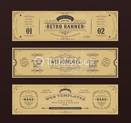 Vintage Website Banners Templates : stock vector