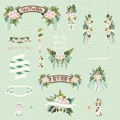 Vintage wedding floral decorative and ornaments set on green background