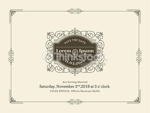 Vintage Wedding Invitation Card Border And Frame Template Vector Art