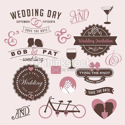 vintage wedding invitation design graphic elements vector. Black Bedroom Furniture Sets. Home Design Ideas