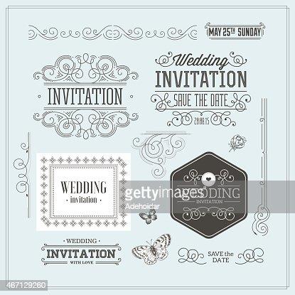 Vintage Hochzeit Einladung Designset Elemente Ornamente Abzeichen