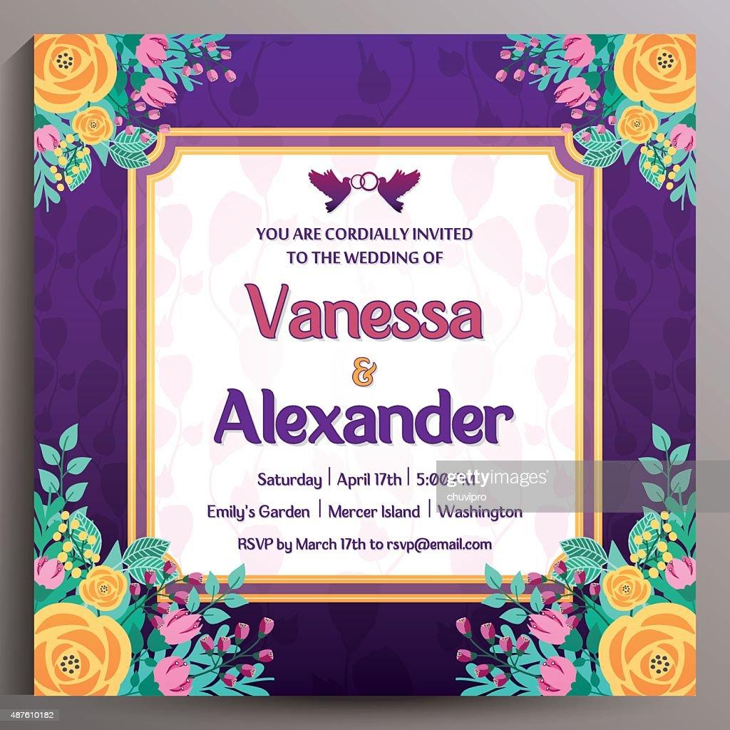 Vintage Wedding Invitation Floral Square Card 145 Cm Vector Art – Floral Vintage Wedding Invitations