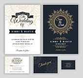 Vintage wedding invitation Mehndi mandala design sets include Invitation card, Save the date, RSVP card, Thank you card. Vector illustration. print ready.