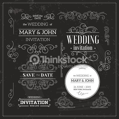 Vintage Wedding Invitation Template In Black White Scroll Vector Art ...