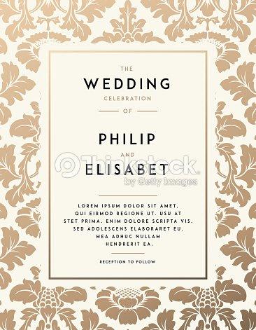 vintage wedding invitation template ベクトルアート thinkstock