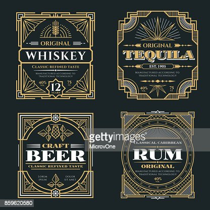 Vintage whiskey and alcoholic beverages vector labels in art deco retro style : Vector Art