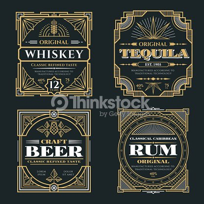 Vintage whiskey and alcoholic beverages vector labels in art deco retro style : stock vector
