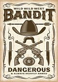 Vintage wild west bandit poster in woodcut style. Editable EPS10 vector typography.