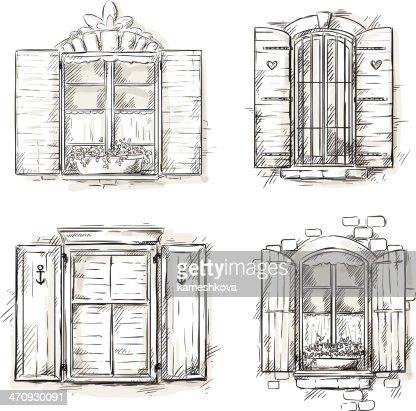 Fenster bleistiftzeichnung  Vintage Fenster Von Hand Gezeichnete Satz Von Vektorzeichnungen ...