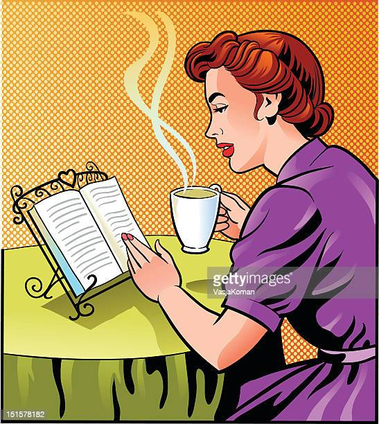 Vintage Woman Reading Book and Holding Cup of Coffee