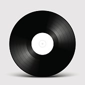 Vinyl LP record disk Mockup with white label, gramophone