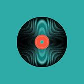 Vinyl music record. vintage gramophone disc. Vector illustration